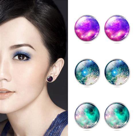 Galaxy Earrings vintage silver plated earring galaxy stud earrings space