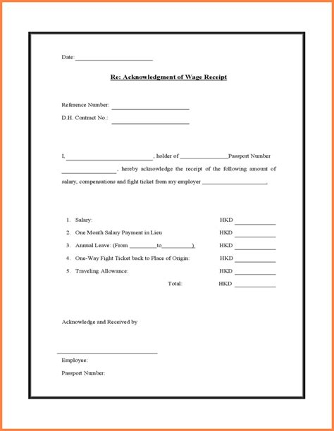 wage receipt template 5 salary received format salary bill format