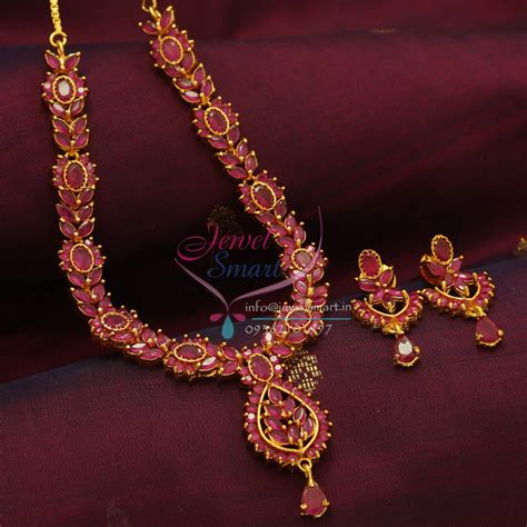 design earrings online ad0804 full ruby necklace traditional indian jaipur design