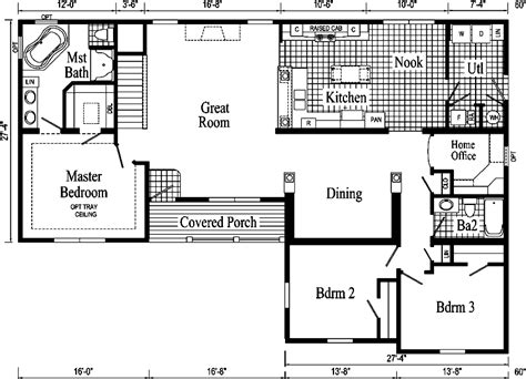 ranch home floor plan davenport ii ranch style modular home pennwest homes