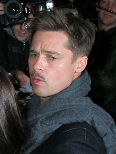 brad pitt inglorious bastard haircut brad pitt my moustache is a political statement celebsnow