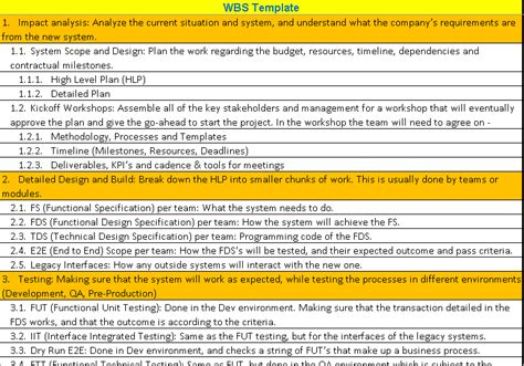 Wbs Word Template by Work Breakdown Structure Wbs Template Excel Word And