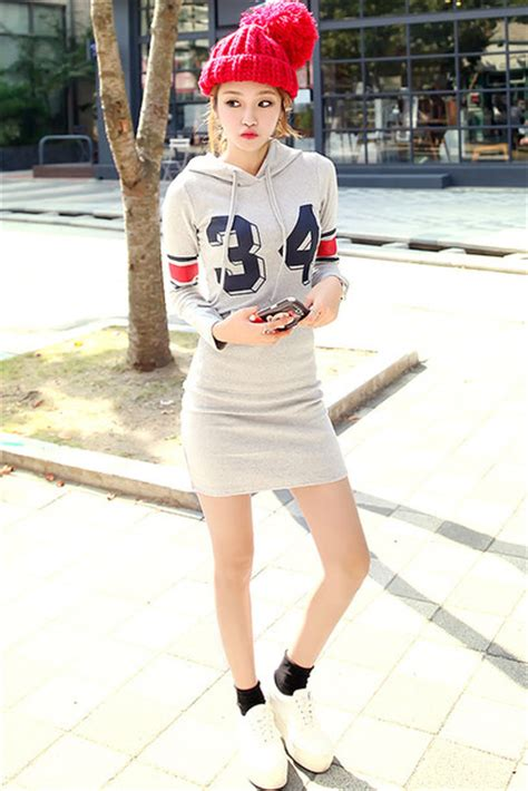 Dress Mini Korean dress sweatshirt hoodie grey mini dress korean