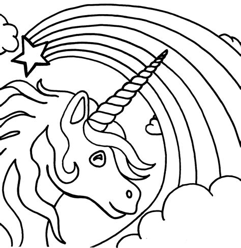 printable unicorn rainbows colouring pages