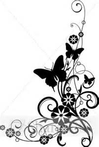 Butterflies with vine black and white clipart church flower clipart