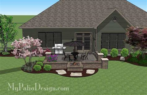My Patio Design Diy Square Brick Patio Design With Pit Downloadable Plan Mypatiodesign