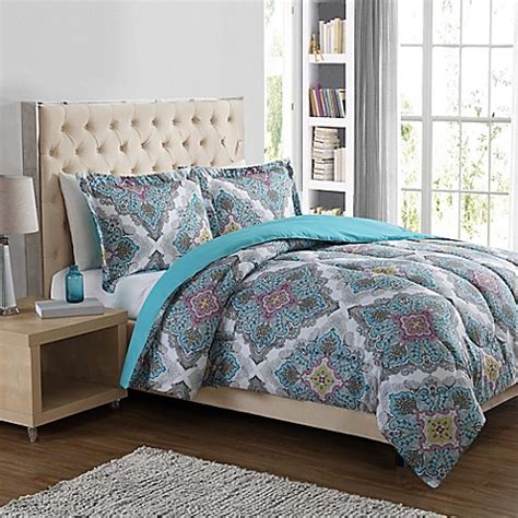 medallion bedding paisley medallion 3 piece comforter set in blue bed bath
