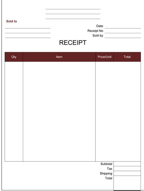 receipt document template blank receipt template receipt form exles blank