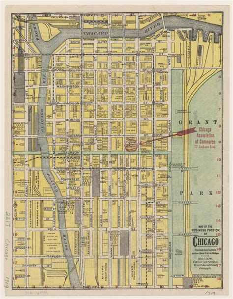 chicago 1871 map map of the business portion of chicago geo f cram 1909