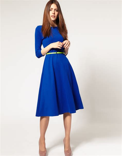 lyst asos collection asos midi dress  belt  blue