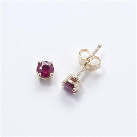 Genuine Ruby Stud Earrings, 14K Yellow Gold