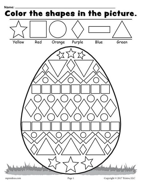 printable hidden shapes pictures free easter egg shapes worksheet coloring page