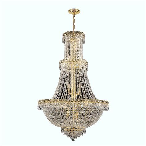 Worldwide Lighting Empire Collection 17 Light Polished And Gold Chandelier