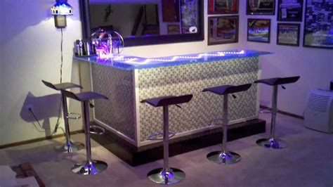 glass tile bar top my custom bar with glass top and led lighting youtube