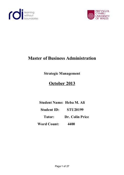 Strategic Management Ppt Slides Mba Students by Strategic Management