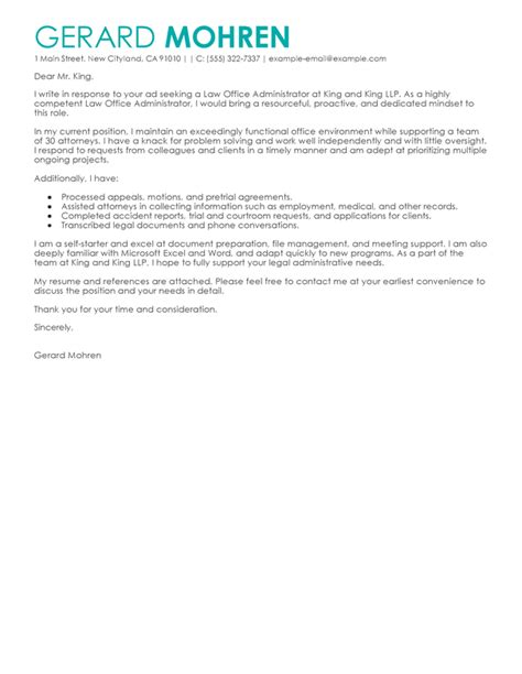 administration cover letter examples for office assistant