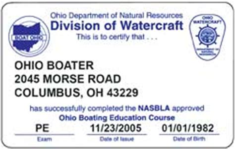 ohio state boating license boating course proficiency exam certificate oh boat ed