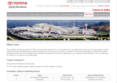Toyota New Plant In India Toyota Kirloskar Motor Allows Visitors For Plant Tour At