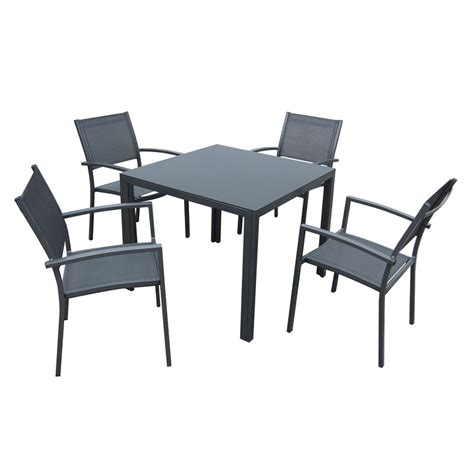 mimosa 5 piece ascot aluminium setting bunnings warehouse