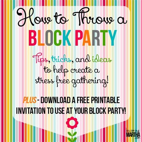 How To Throw A Block Party Printable Invitation Template The Future Marshmallows And Party And Invite Template