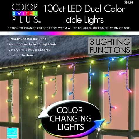 color switch plus dual party changing led icicle christmas