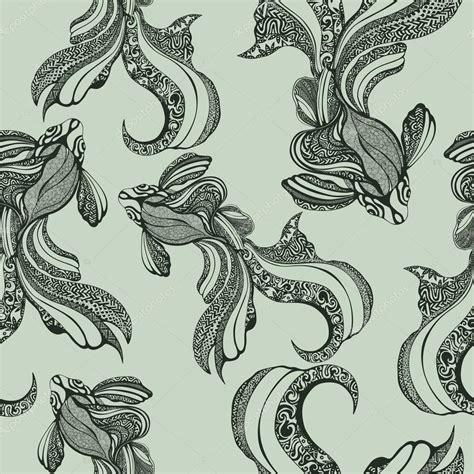 vintage pattern sketch abstract fish seamless pattern vintage coloring sketch