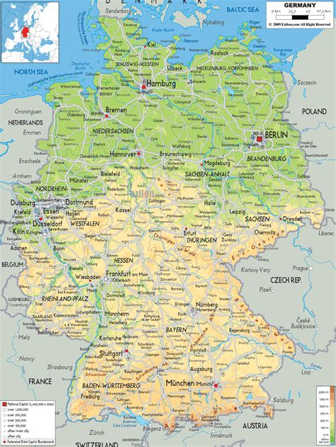map germany physical map of germany ezilon maps