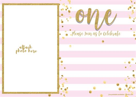 Free 1st Birthday Invitation Pink And Gold Glitter Template Free Invitation Templates Drevio Gold Birthday Invitation Template