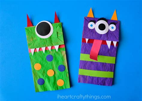 How To Make Paper Monsters - paper bag puppets i crafty things