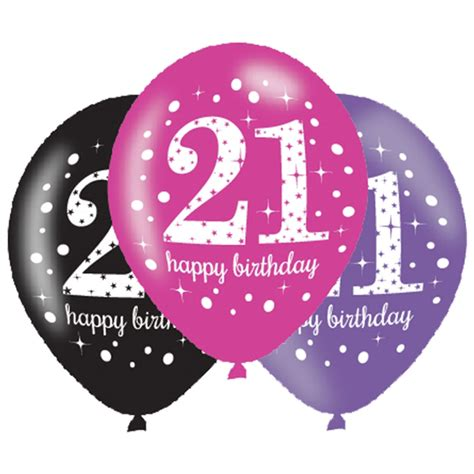 Baby Shower Party Pack - 6 x 21st birthday balloons black pink lilac party decorations age 21 balloons ebay