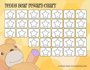 teddy bear reward chart free printable downloads from