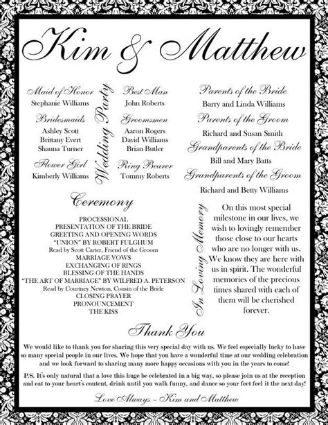 printable wedding program templates pin by romia on printable wedding programs