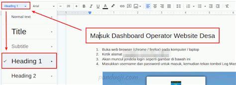 membuat daftar isi otomatis  google docs panduajicom