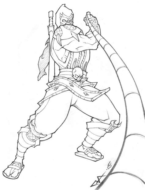 mortal kombat scorpion coloring pages coloriages