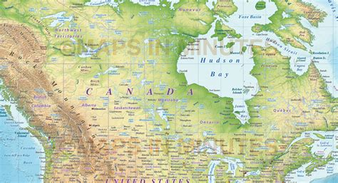 canada terrain map digital vector political world map with relief terrain