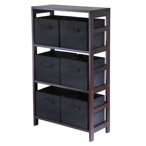 3 shelf storage rack with 6 foldable black baskets 92251