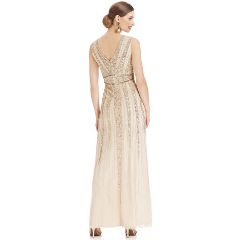 patra beaded dress patra sleeveless beaded cowlneck gown in lyst