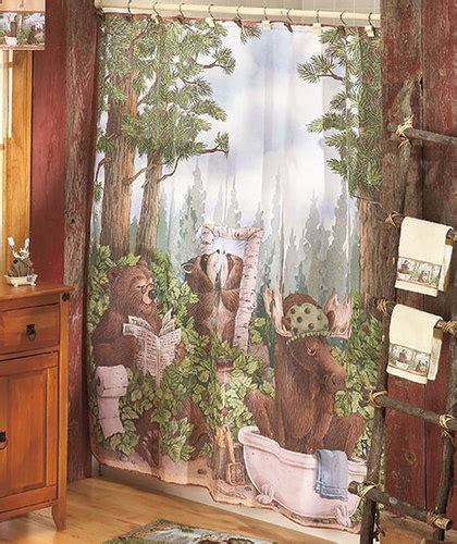 Wildlife Shower Curtains In The Woods Wildlife Shower Curtain Rug Towels Hooks Log Cabin