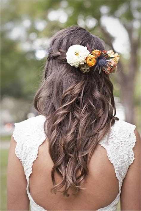 wedding hairstyles for hair with flowers