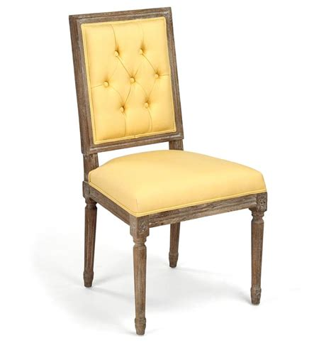 pair louis xvi yellow tufted linen dining side chair kathy kuo home