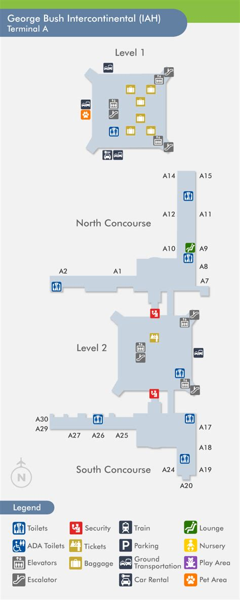 iah terminal map travelnerd terminal a