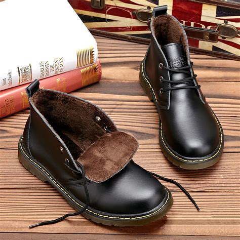 Genuine Leather Ankle Snow Boots genuine leather snow boots oxford formal dress shoes