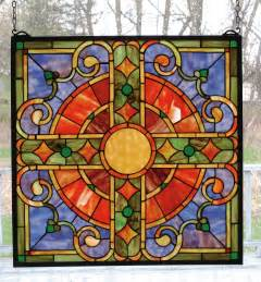 stained glass window meyda 98084 tiffany medieval cross stained glass window