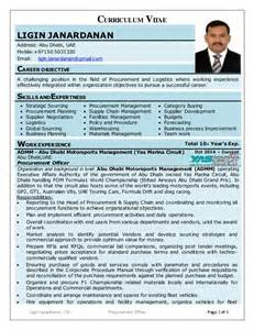Curriculum Vitae Sample Format by Ligin Cv Procurement Amp Logistics Professional