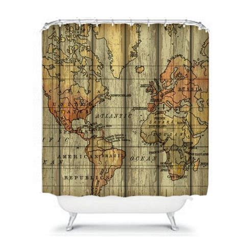map curtain world map shower curtain grunge primitive by folkandfunky