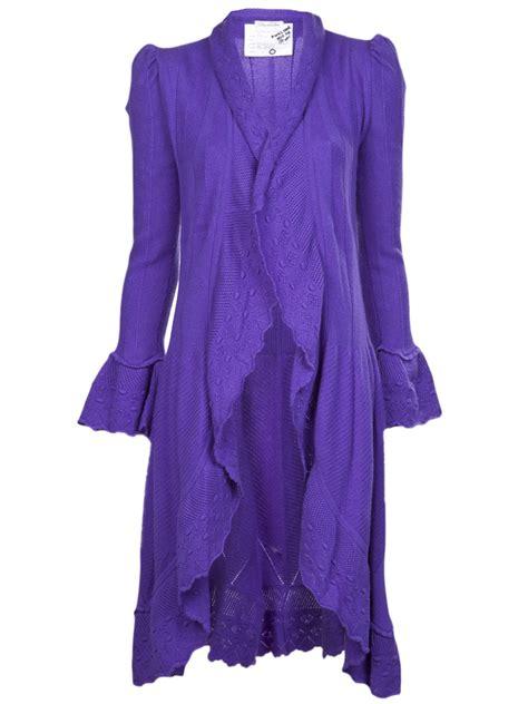 knit duster cardigan lyst oscar de la renta knit duster cardigan in purple