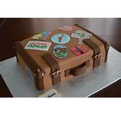 Suitcase Cake With Hand Drawn Luggage Stickers  By