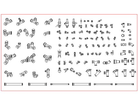 pipe fittings elbows dwg block autocad designs cad