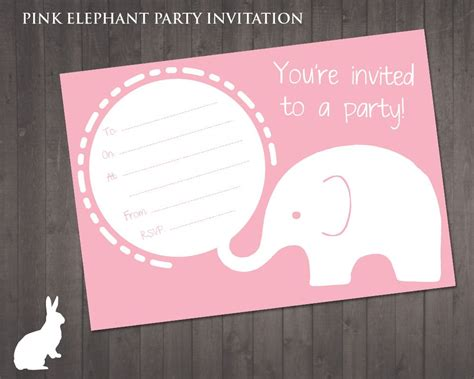 Elephant Birthday Card Template by Free Pink Elephant Invitation Ruby And The Rabbit