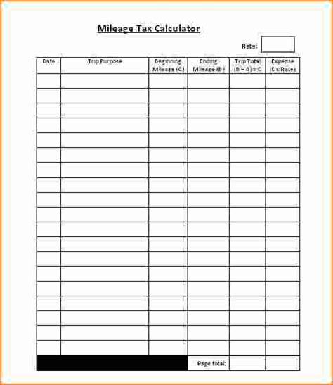 gas mileage log template 6 free printable mileage log printable receipt